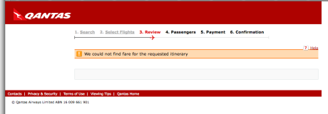 Qantas booking process error