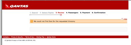 Qantas booking process error